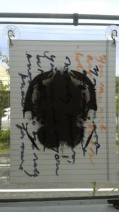 Untitled (Window Installation Unit- Black & orange on black). 8 x 10. 2015