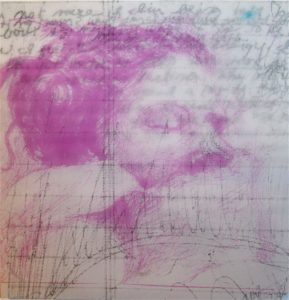 Untitled (magenta). Mixed Media & Intaglio. 7 x 7. 2011-12